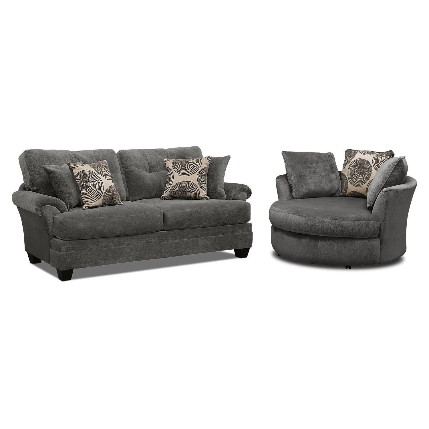 Superb Living Room Furniture   Cordelle Sofa And Swivel Chair Set   Gray