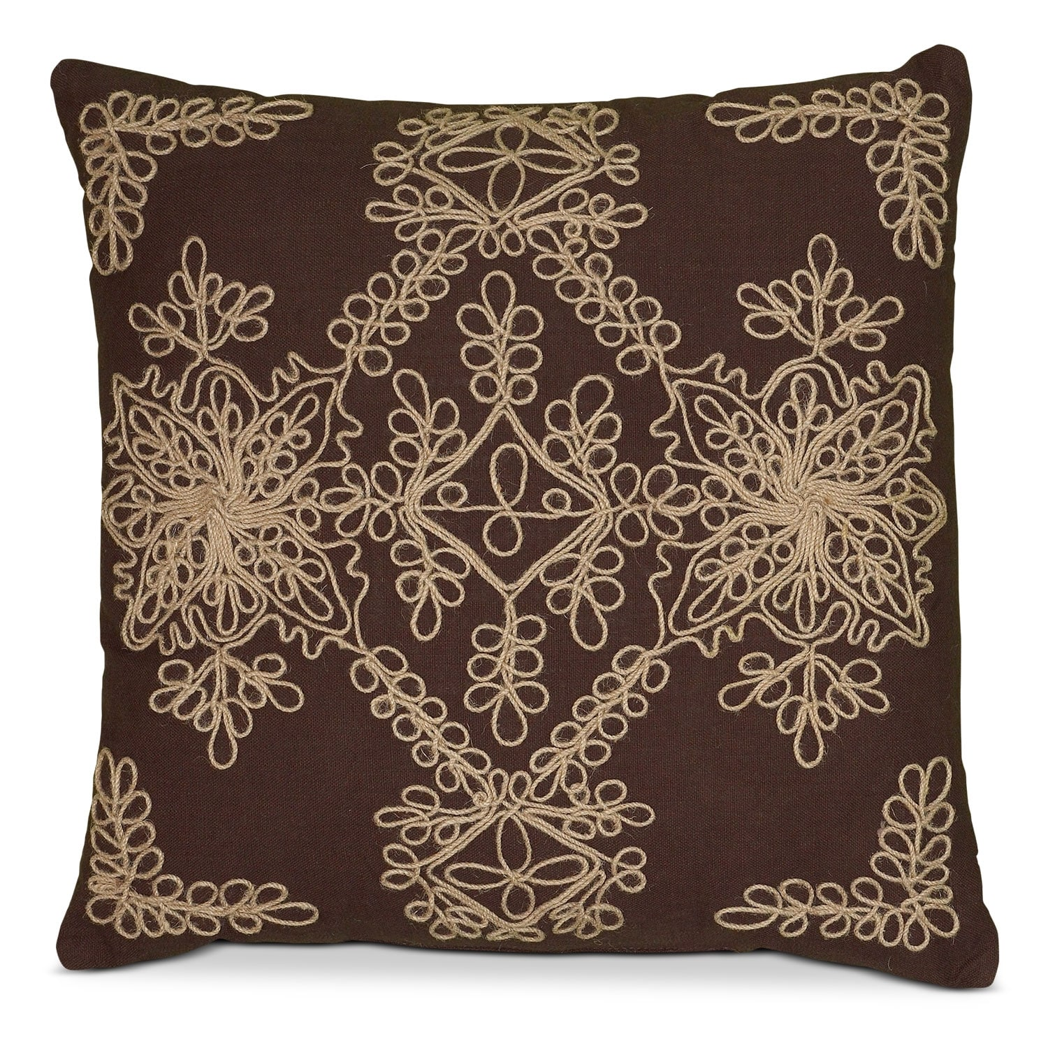 Accent and Occasional Furniture - Brown Scroll Decorative Pillow