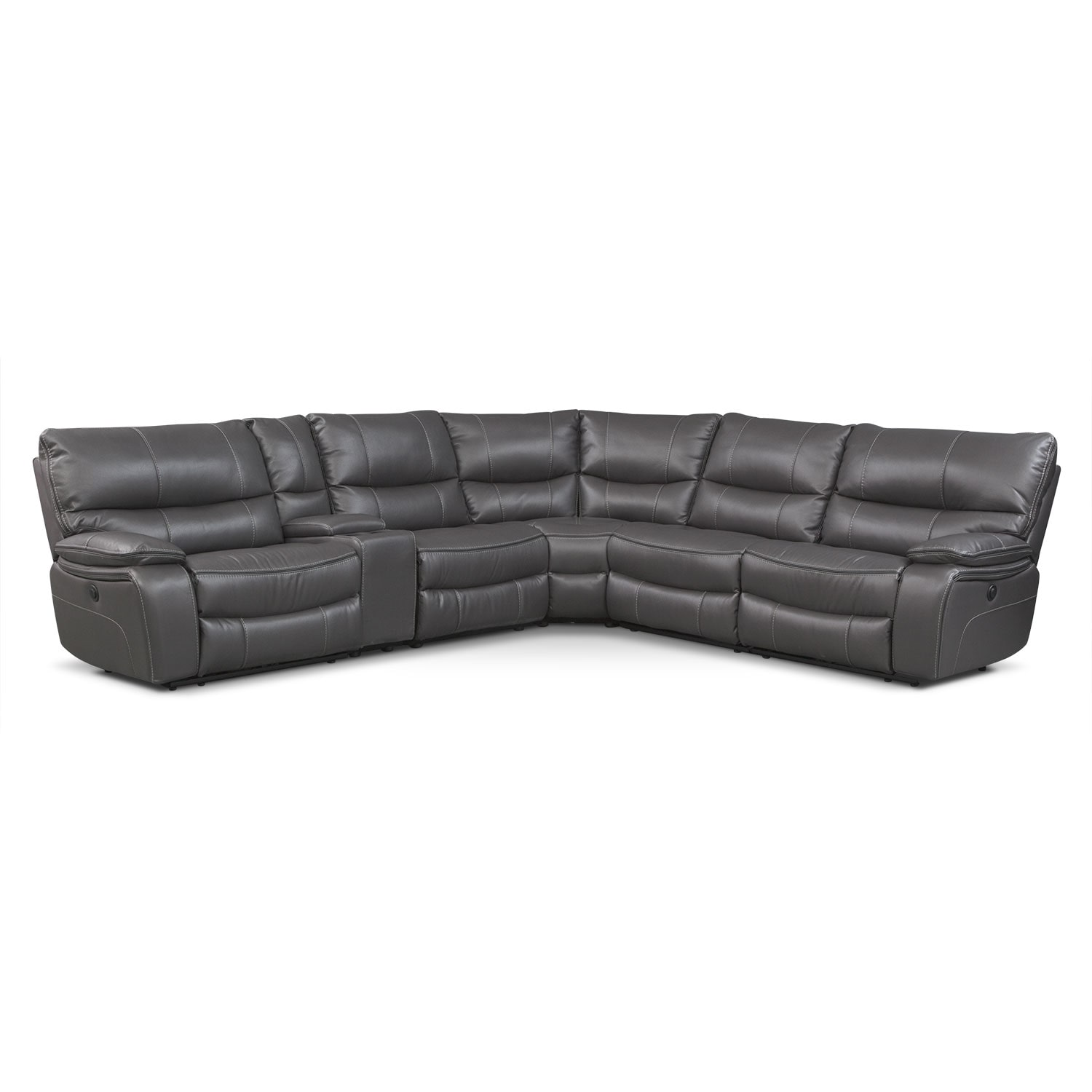 Orlando 6-Piece Power Reclining Sectional w/ 1 Stationary Chair - Gray