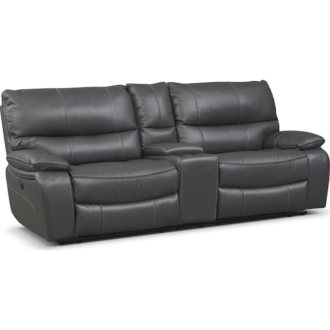 Living Room Furniture - Orlando Power Reclining Sofa with Console - Gray