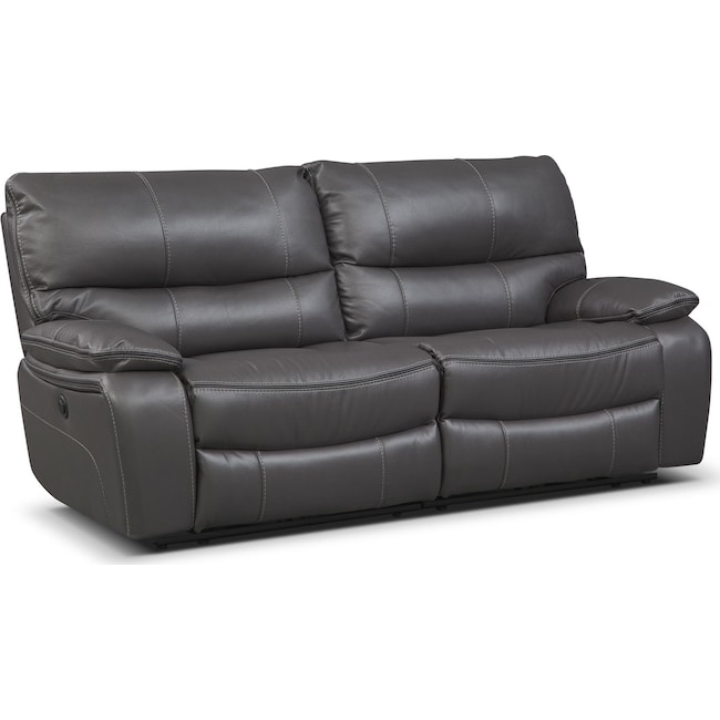Living Room Furniture - Orlando Power Reclining Sofa - Gray