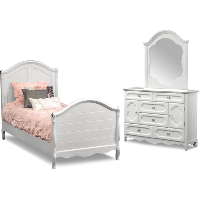 Kids Furniture - Carly 5-Piece Twin Bedroom Set - White