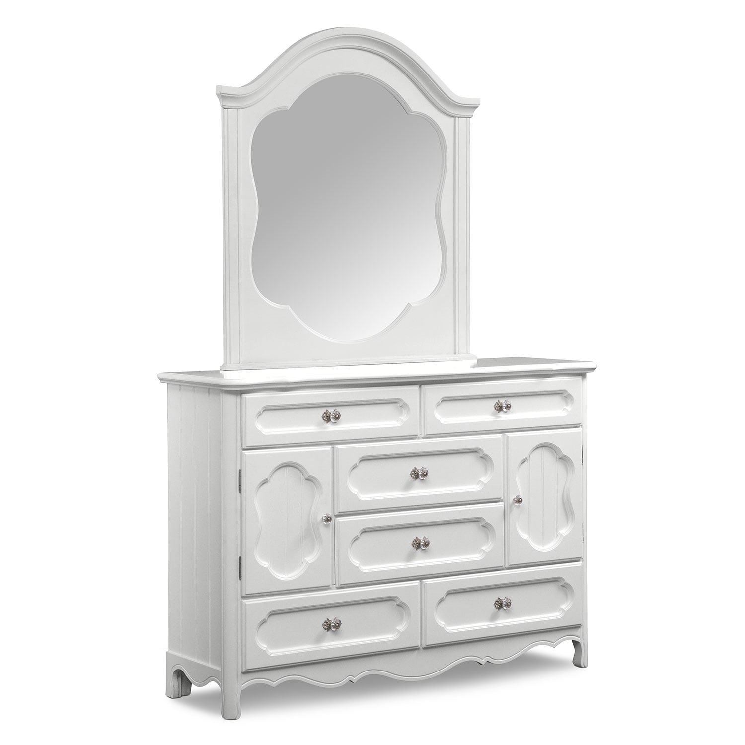 carly dresser and mirror white american signature furniture. Black Bedroom Furniture Sets. Home Design Ideas