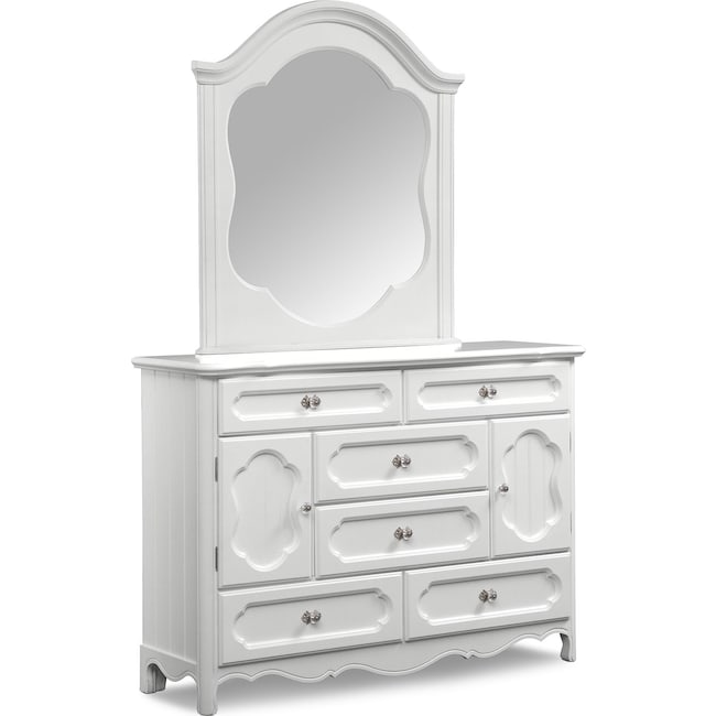 Kids Furniture - Carly Dresser and Mirror - White