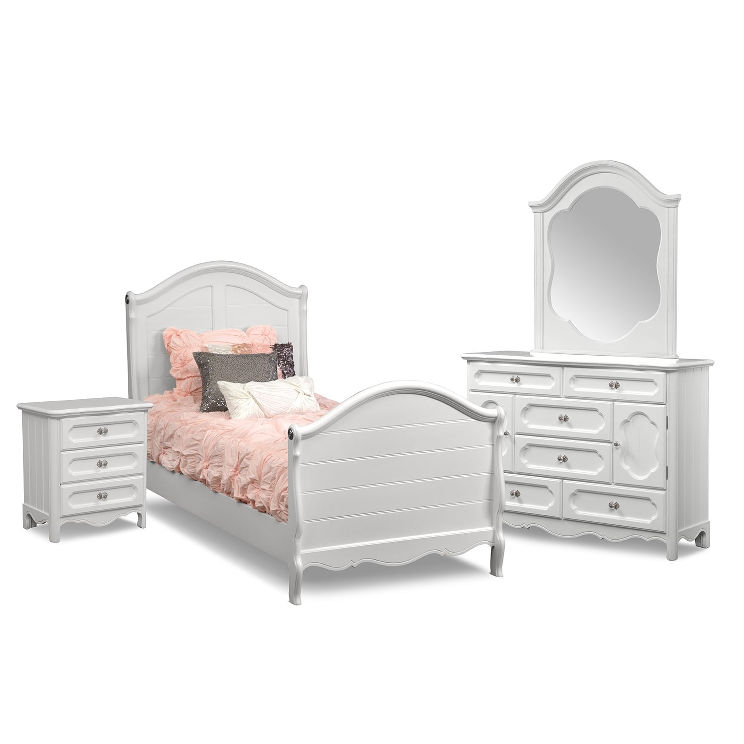 Carly 6-Piece Bedroom Set with Nightstand, Dresser and Mirror ...