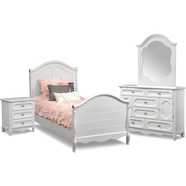 Kids Furniture - Carly 6-Piece Twin Bedroom Set - White