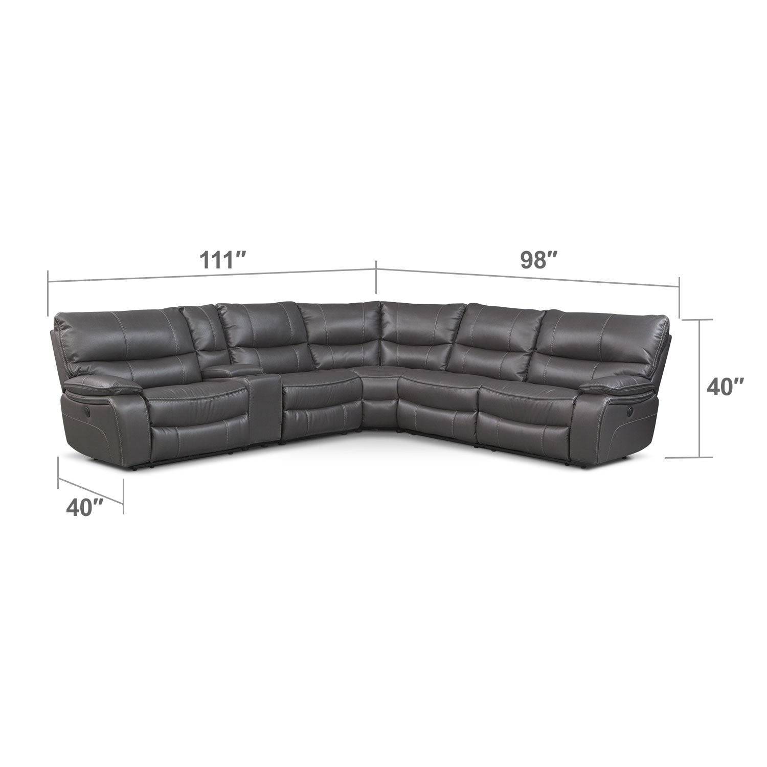 Living Room Furniture - Orlando 6-Piece Power Reclining Sectional w/ 1 Stationary Chair - Gray