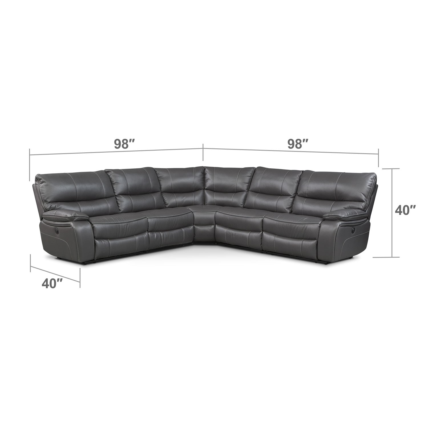 Living Room Furniture - Orlando 5-Piece Power Reclining Sectional - Gray