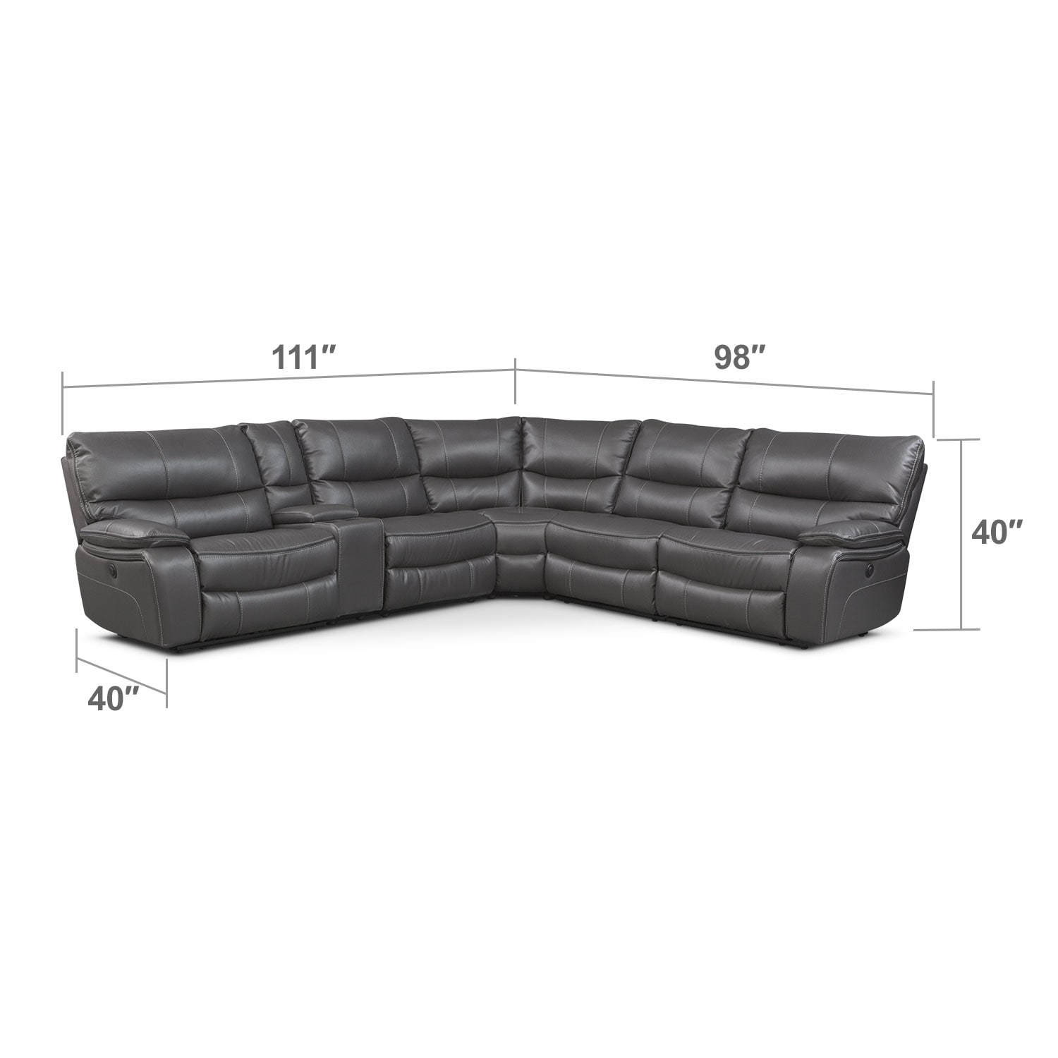 Living Room Furniture - Orlando 6-Piece Power Reclining Sectional w/ 2 Stationary Chairs - Gray