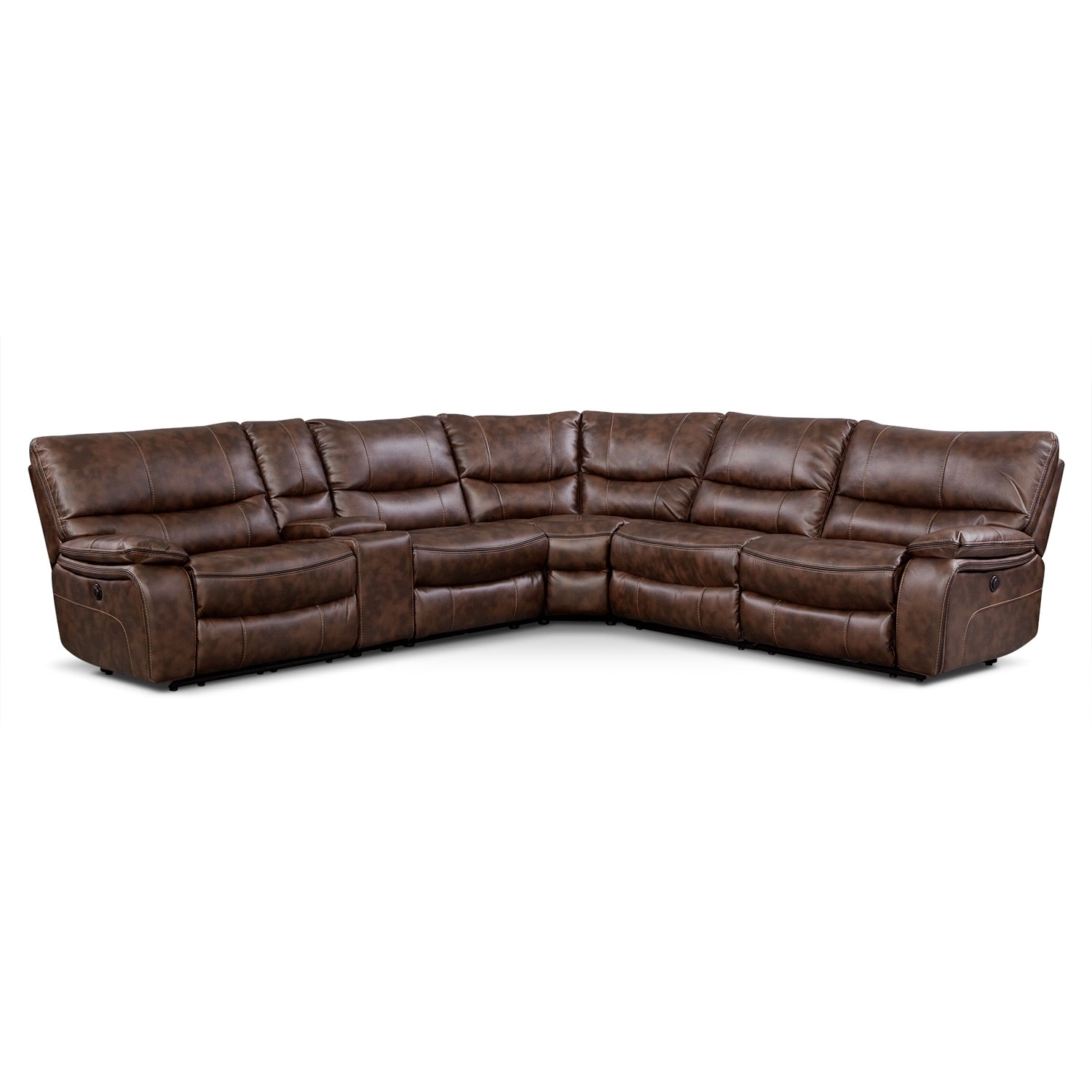 Orlando 6-Piece Power Reclining Sectional w/ 1 Stationary Chair - Brown