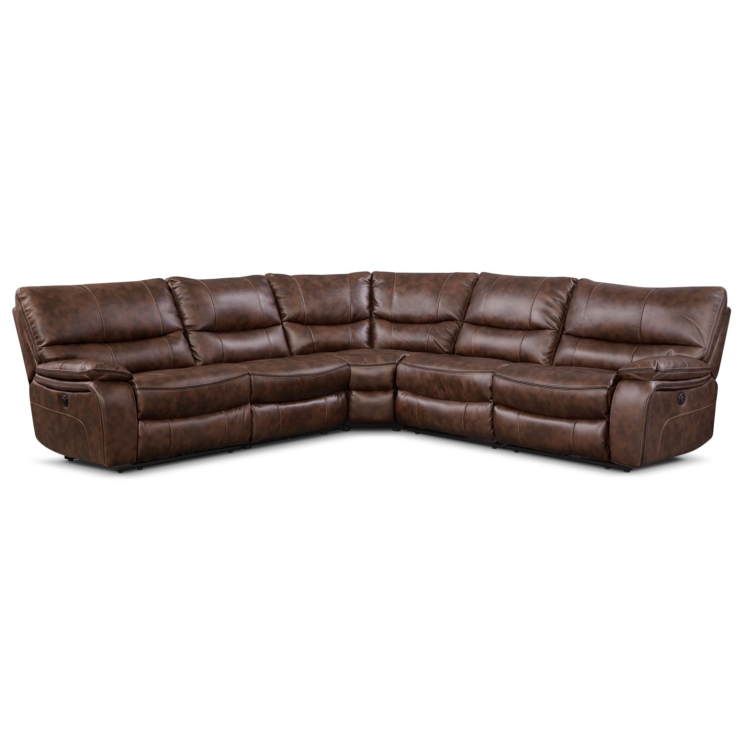 orlando 5 piece power reclining sectional brown