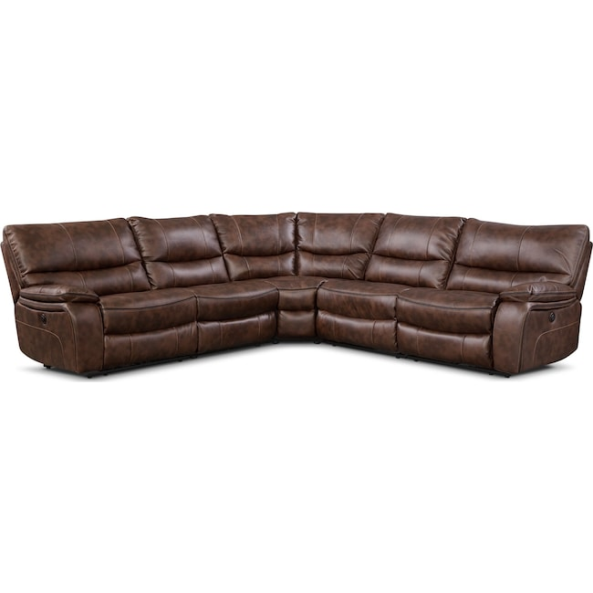 Living Room Furniture - Orlando 5-Piece Power Reclining Sectional - Brown