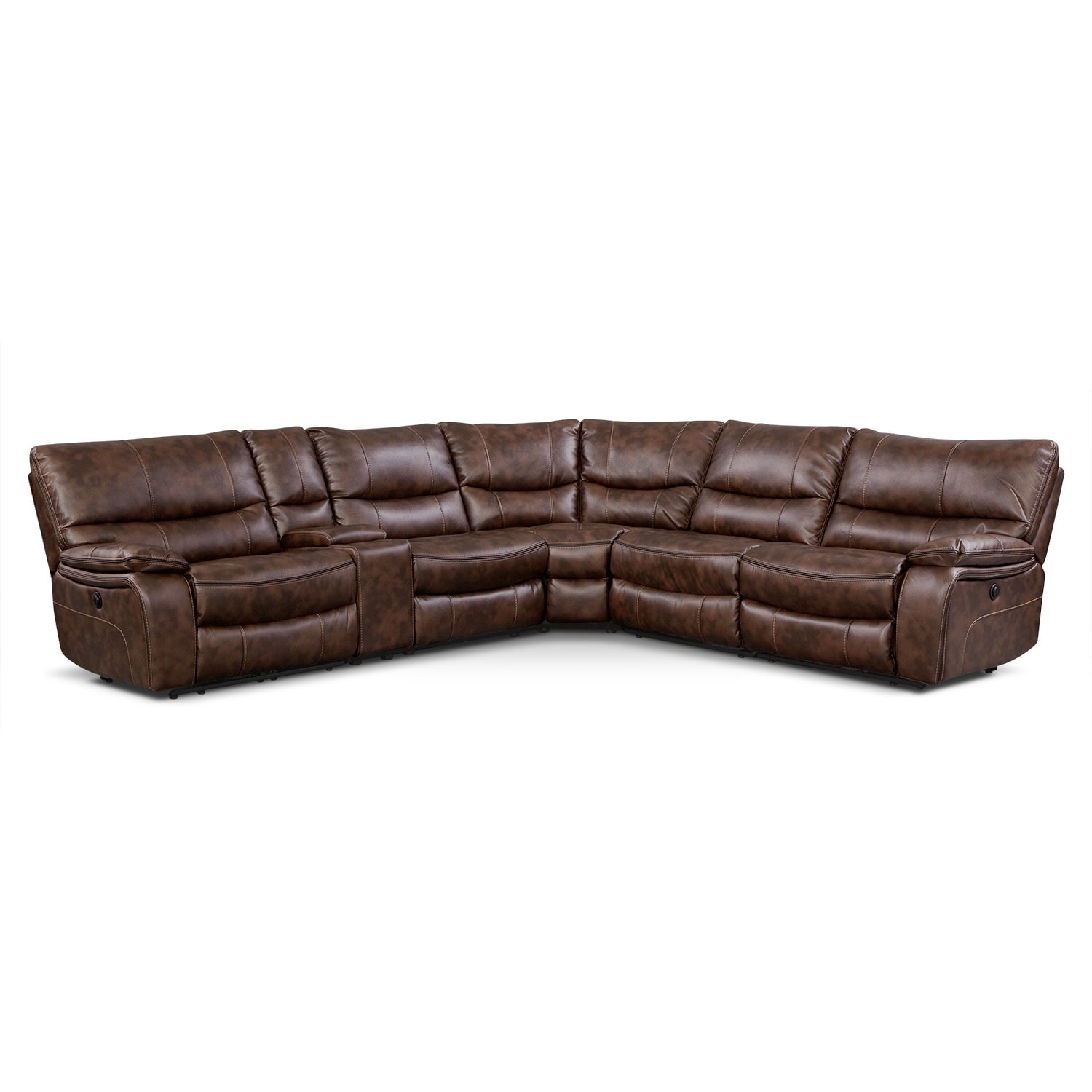 Living Room Furniture - Orlando 6-Piece Power Reclining Sectional w/ 2 Stationary Chairs - Brown