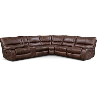 Orlando 6-Piece Power Reclining Sectional with 2 Stationary Chairs - Brown