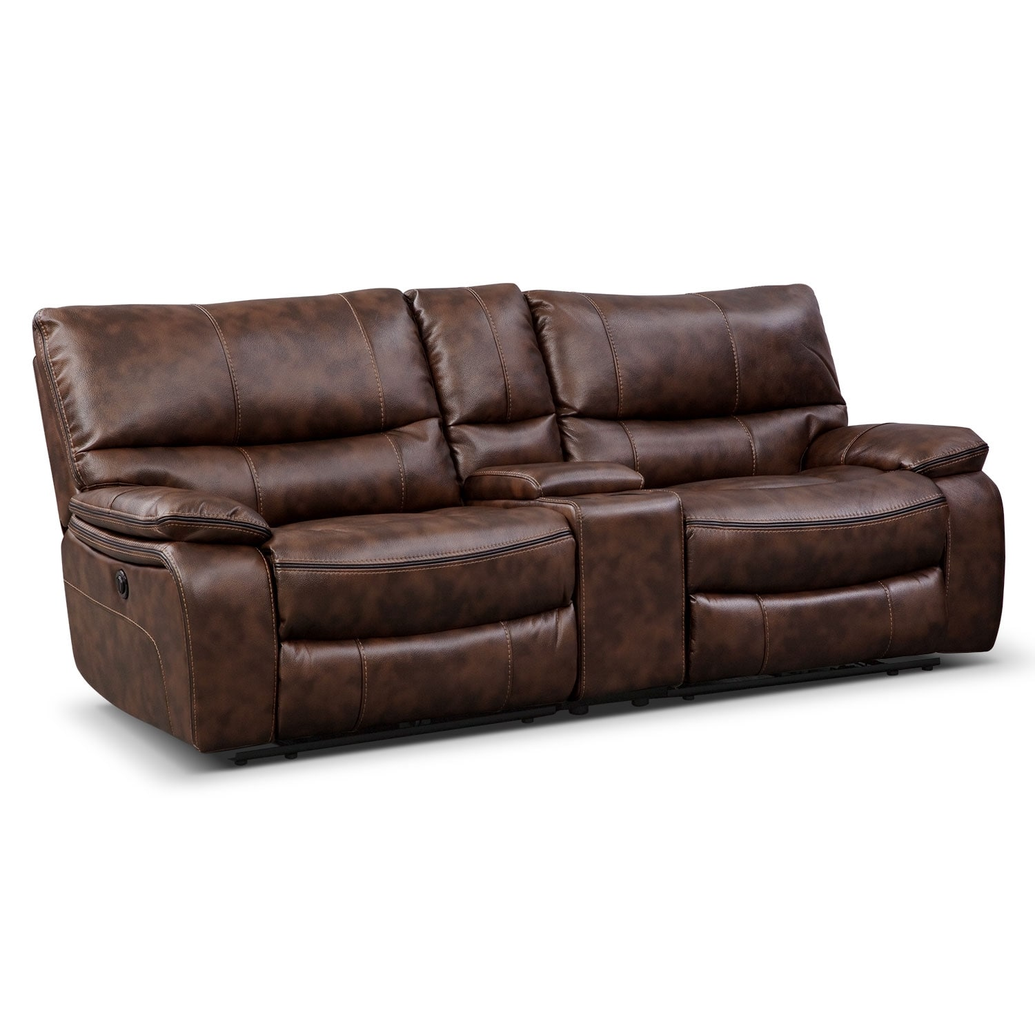 Orlando Power Reclining Sofa With Console Brown American Signature Furniture