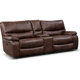 Orlando Power Reclining Sofa with Console - Brown