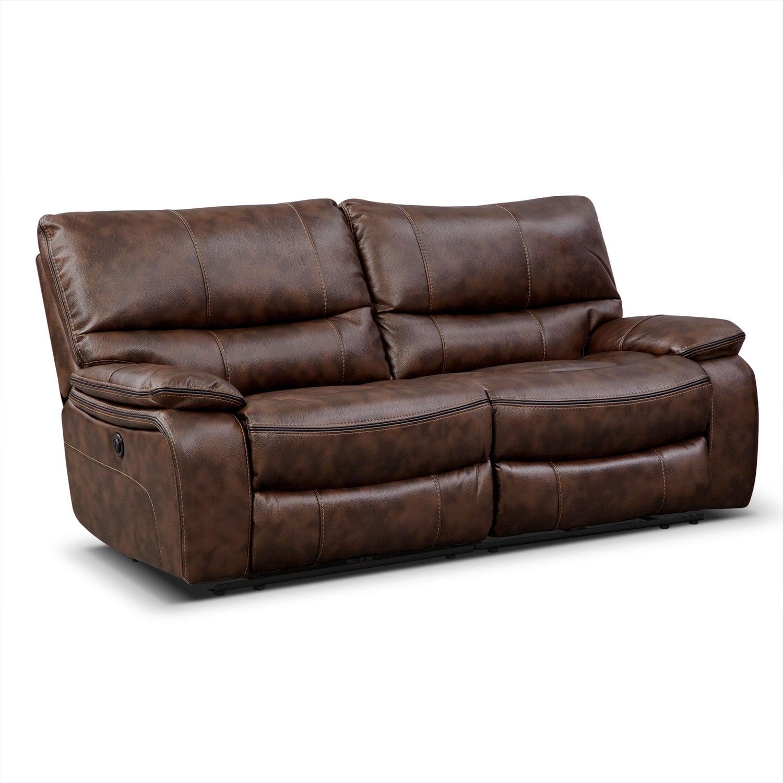 Living Room Furniture - Orlando Power Reclining Sofa - Brown