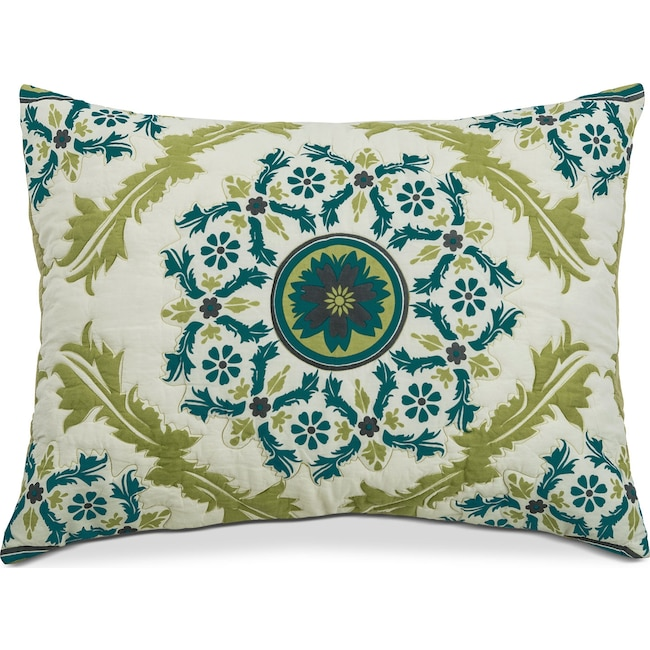 Accent and Occasional Furniture - Madaline Marie King Quilted Sham - Lime and Teal