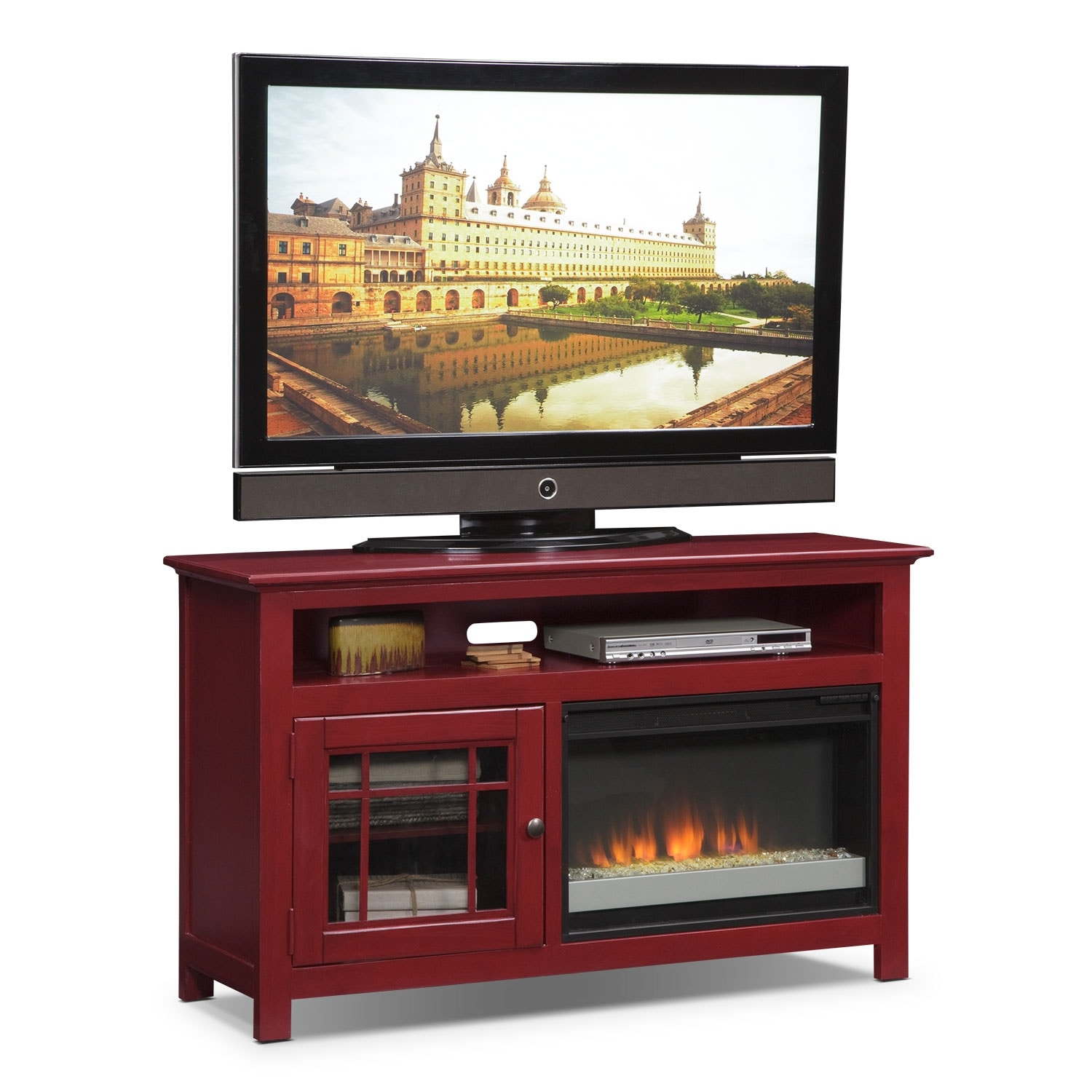 """Merrick 54"""" Fireplace TV Stand with Contemporary Insert - Red"""