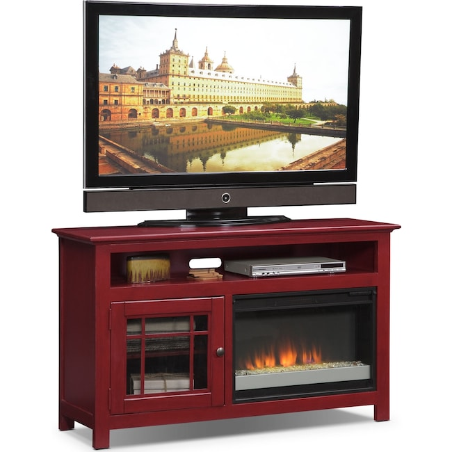 "Entertainment Furniture - Merrick 54"" Fireplace TV Stand with Contemporary Insert - Red"