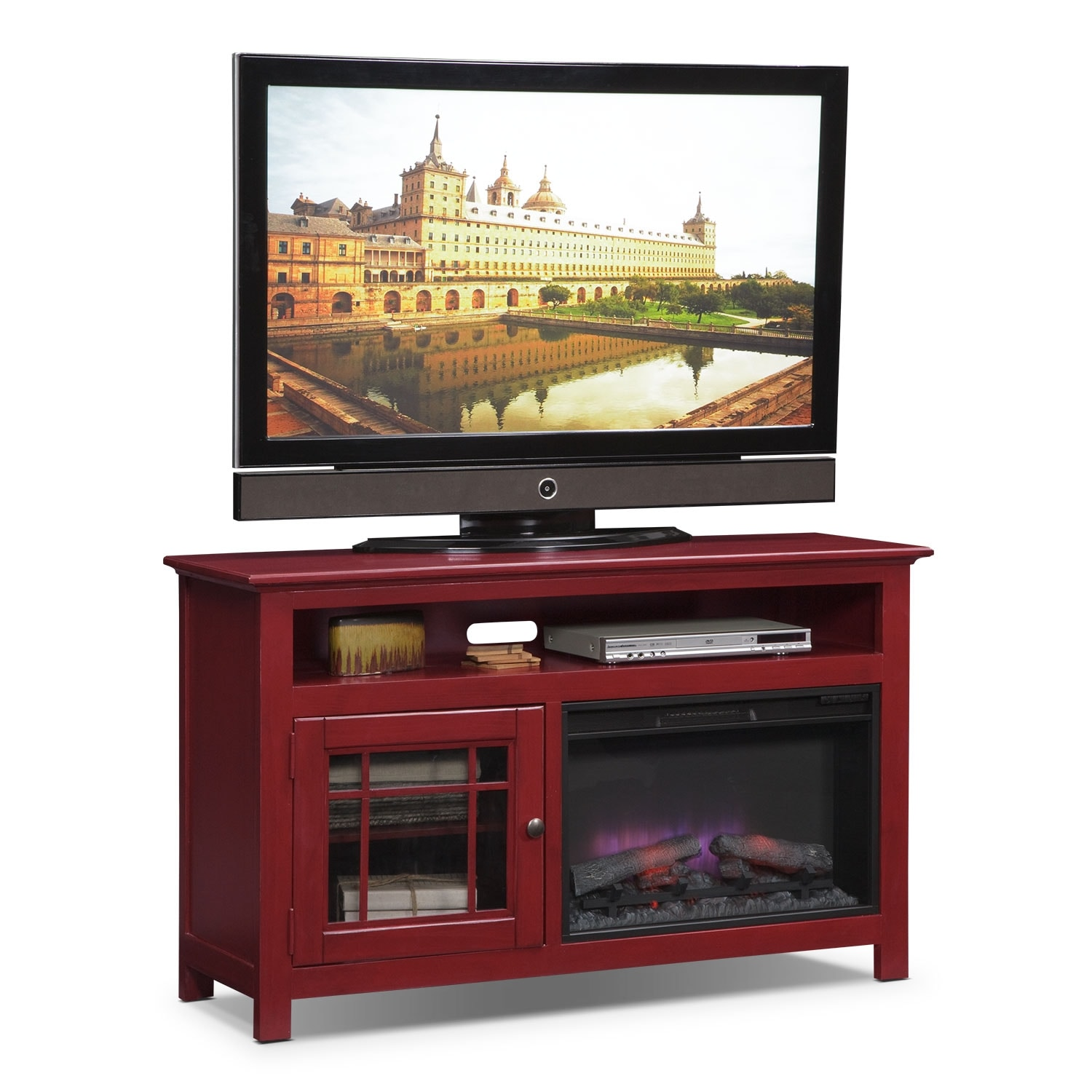 """Merrick 54"""" Fireplace TV Stand with Traditional Insert - Red"""
