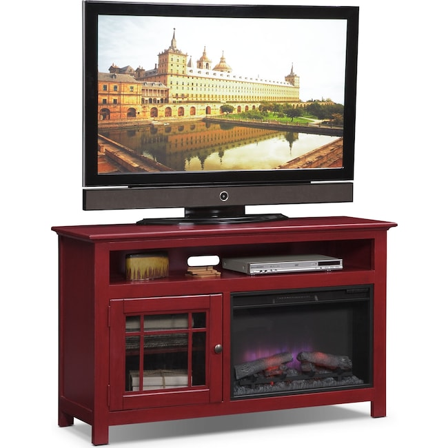 "Entertainment Furniture - Merrick 54"" Fireplace TV Stand with Traditional Insert - Red"