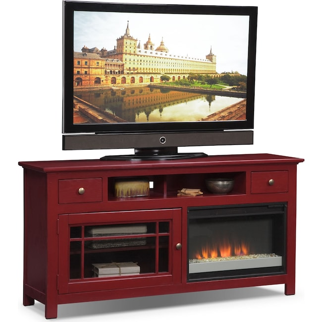"Entertainment Furniture - Merrick 64"" Fireplace TV Stand with Contemporary Insert - Red"