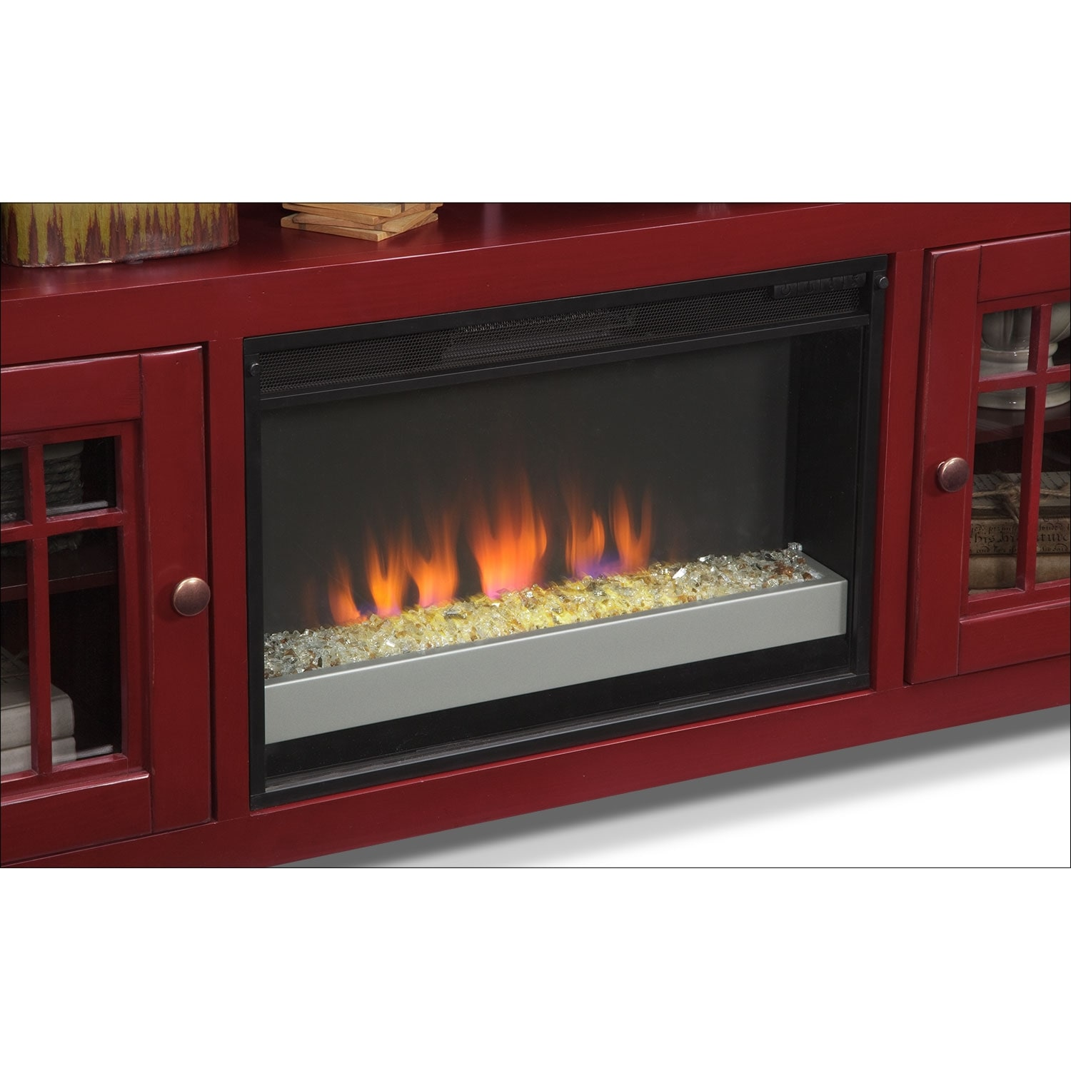 Merrick 74 Quot Fireplace Tv Stand With Contemporary Insert Red American Signature Furniture