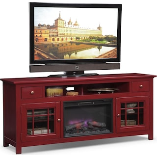 "Merrick 74"" Fireplace TV Stand with Traditional Insert - Red"