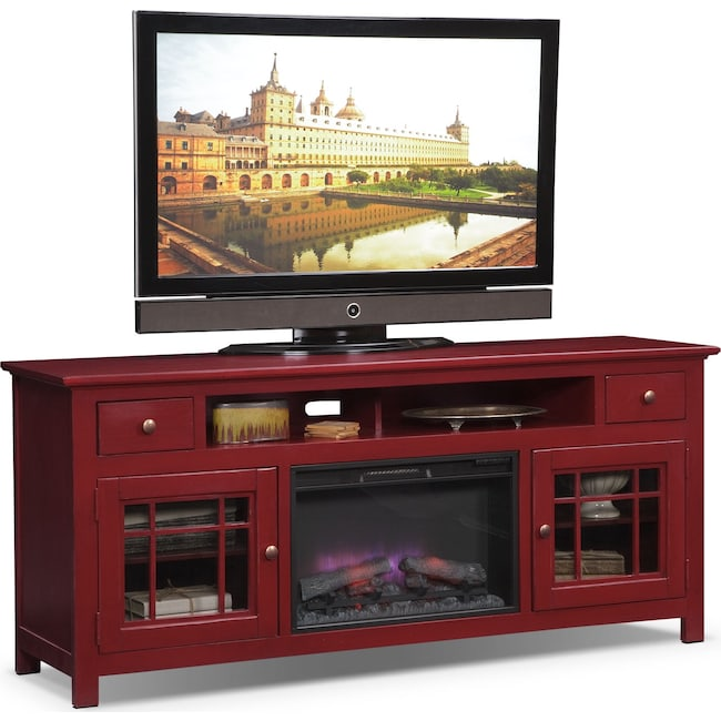 "Entertainment Furniture - Merrick 74"" Fireplace TV Stand with Traditional Insert - Red"