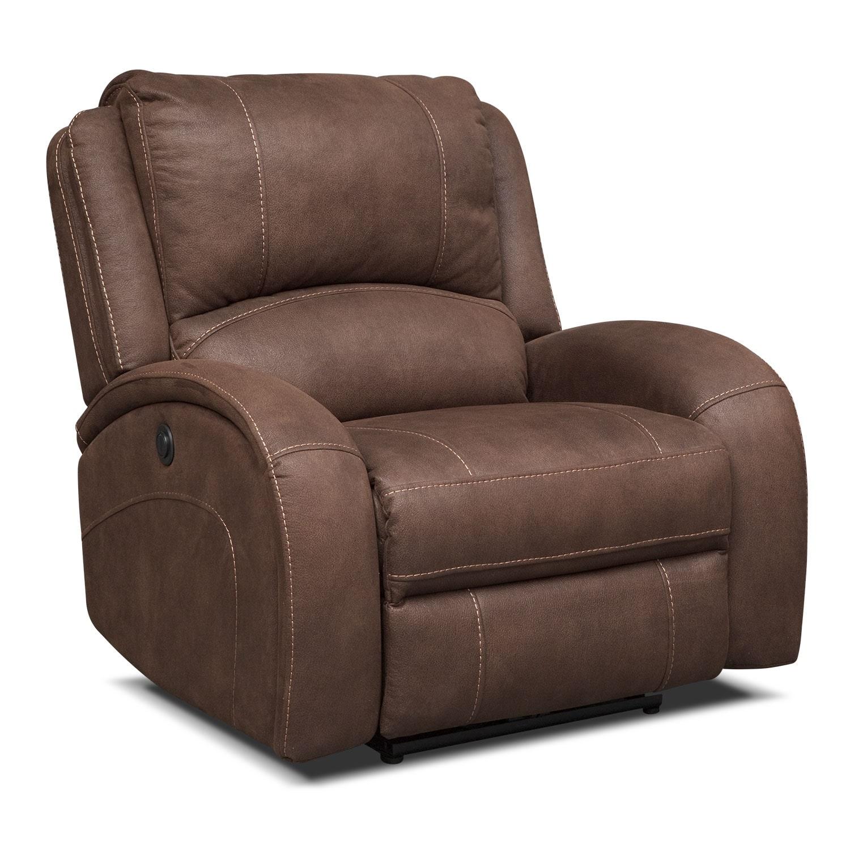 Living Room Furniture - Ambrose Power Recliner - Brown