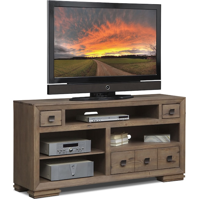 "Entertainment Furniture - Mesa 64"" TV Stand - Distressed Pine"