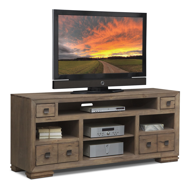 mesa 74 tv stand distressed pine american signature