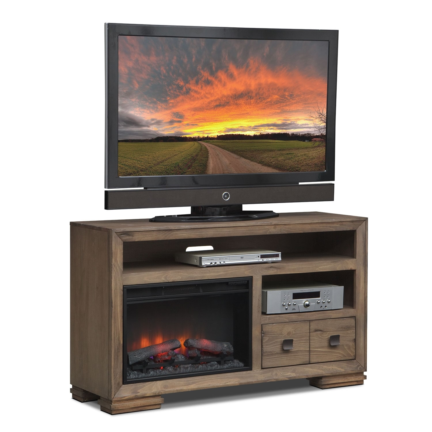 """Mesa 54"""" Fireplace TV Stand with Traditional Insert - Distressed Pine"""