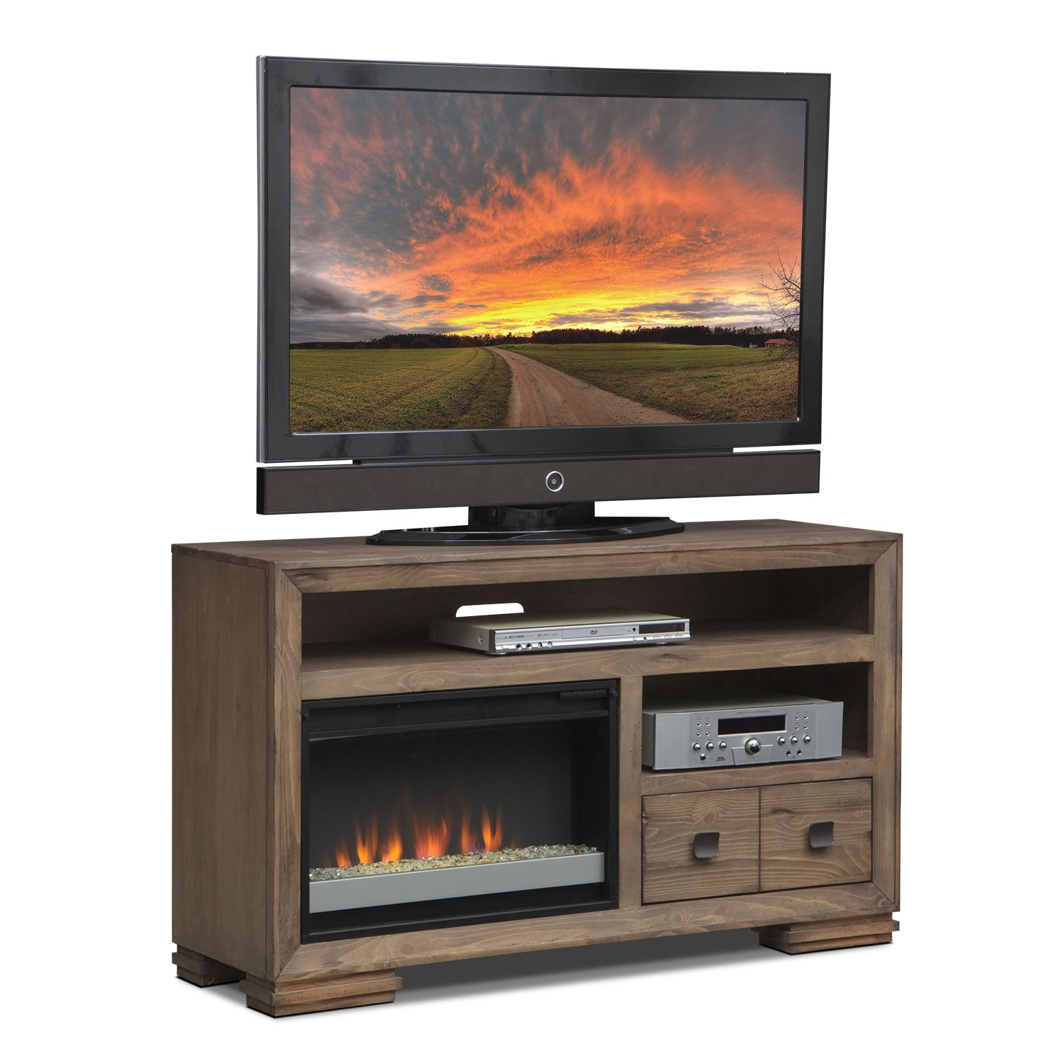 """Entertainment Furniture - Mesa 54"""" Fireplace TV Stand with Contemporary Insert - Distressed Pine"""