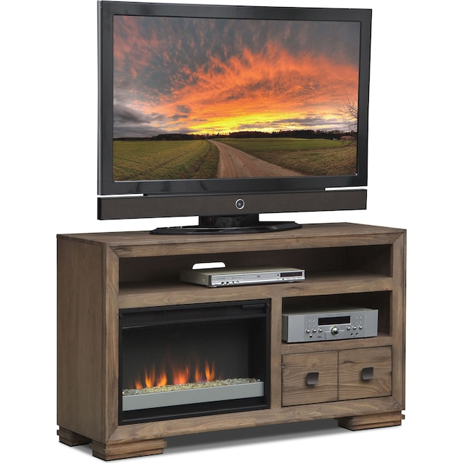 "Entertainment Furniture - Mesa 54"" Fireplace TV Stand with Contemporary Insert - Gray"