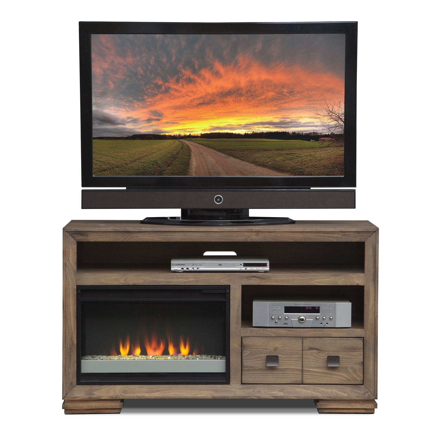 mesa 54 fireplace tv stand with contemporary insert