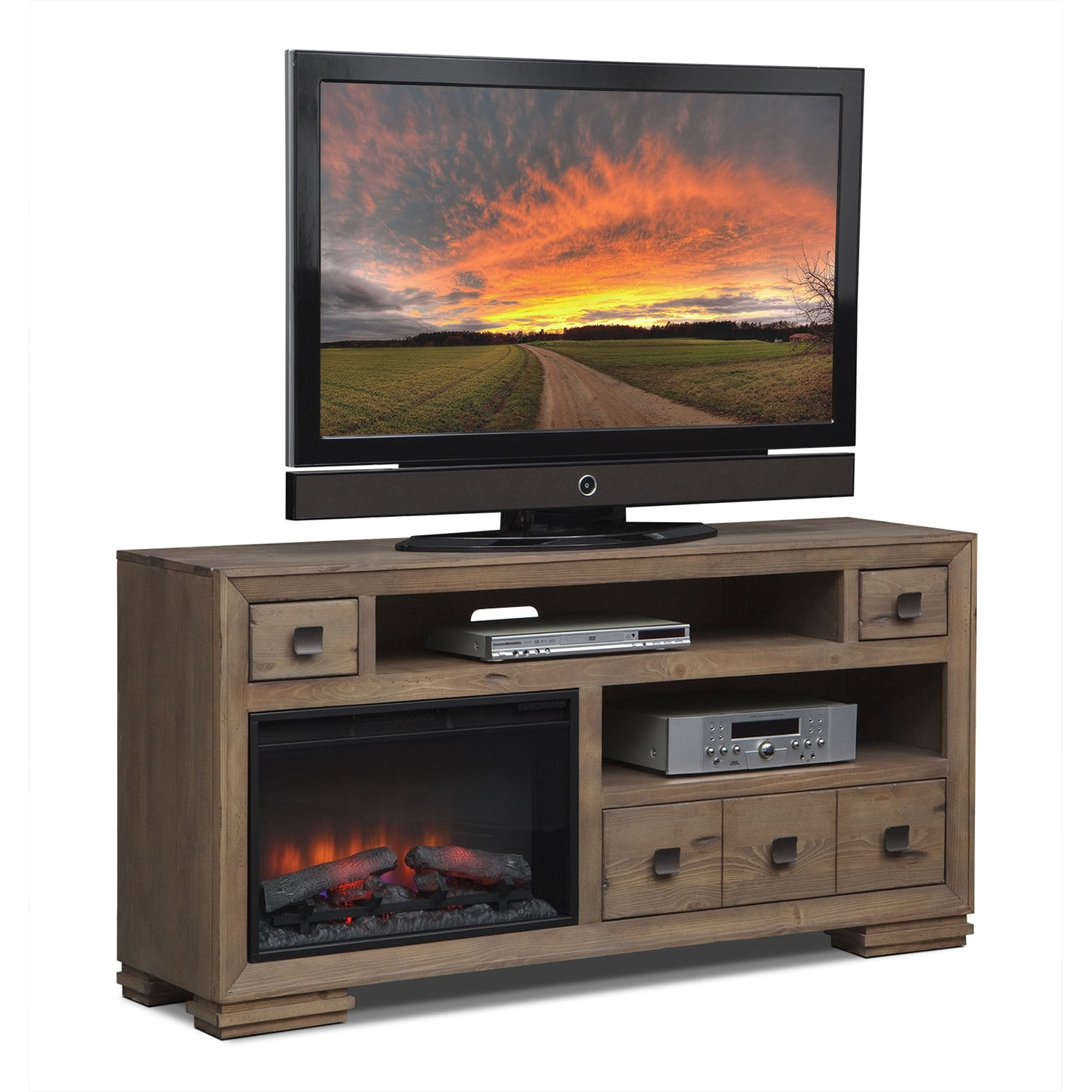 "Entertainment Furniture - Mesa 64"" Fireplace TV Stand with Traditional Insert - Distressed Pine"