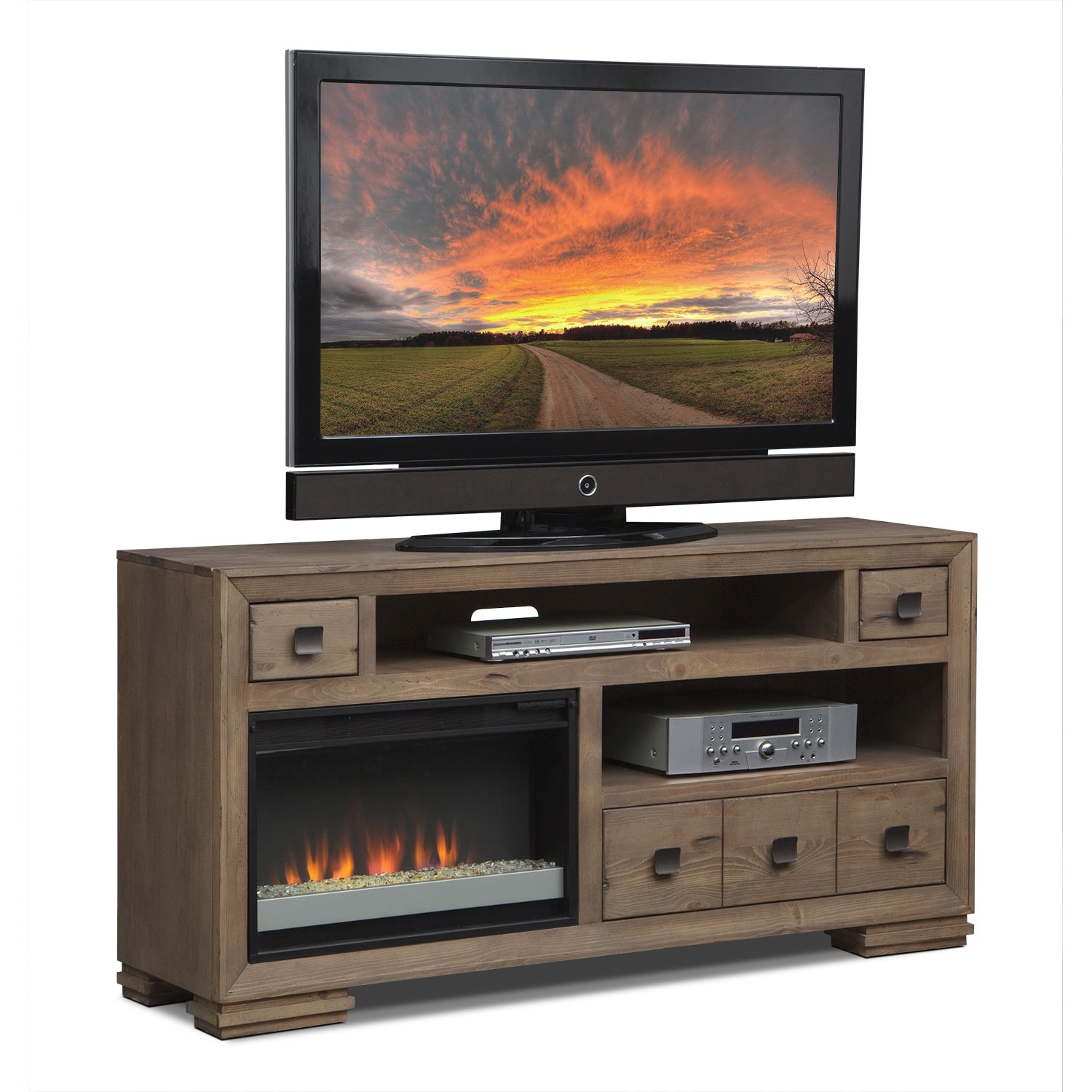 "Entertainment Furniture - Mesa 64"" Fireplace TV Stand with Contemporary Insert - Distressed Pine"