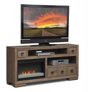 "Mesa 64"" Fireplace TV Stand with Contemporary Insert - Distressed Pine"