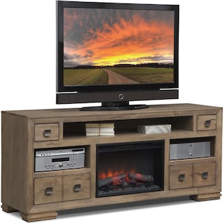 "Mesa 74"" Fireplace TV Stand with Traditional Insert - Gray"