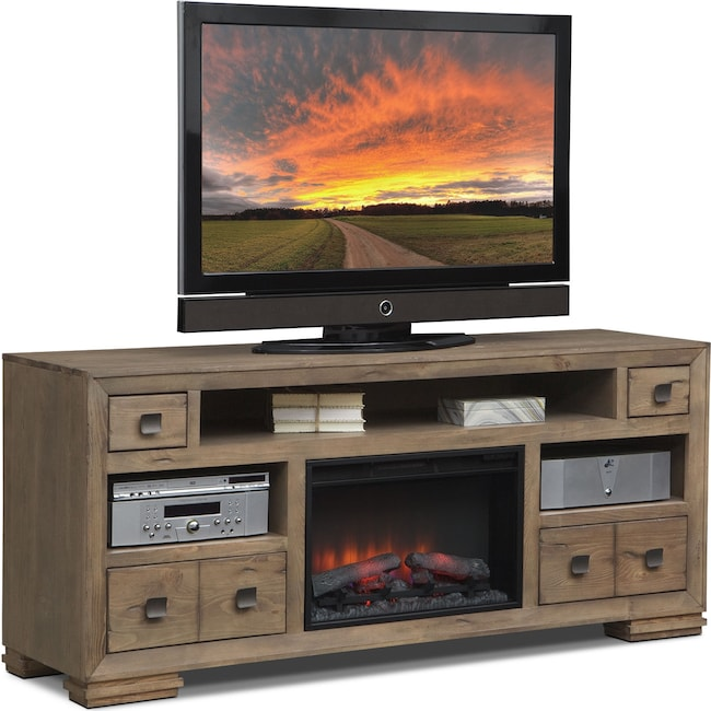 "Entertainment Furniture - Mesa 74"" Fireplace TV Stand with Traditional Insert - Distressed Pine"