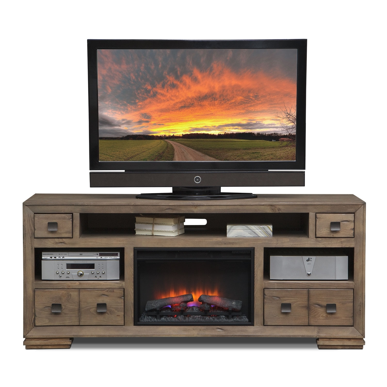 "Mesa 74"" Fireplace TV Stand with Traditional Insert - Gray ..."