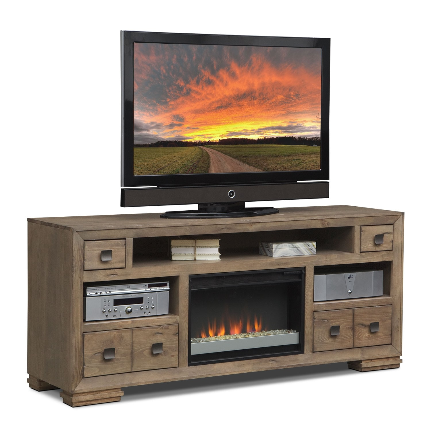 "Entertainment Furniture - Mesa 74"" Fireplace TV Stand with Contemporary Insert - Distressed Pine"
