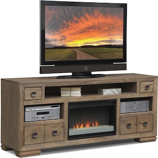 "Mesa 74"" Fireplace TV Stand with Contemporary Insert - Gray"