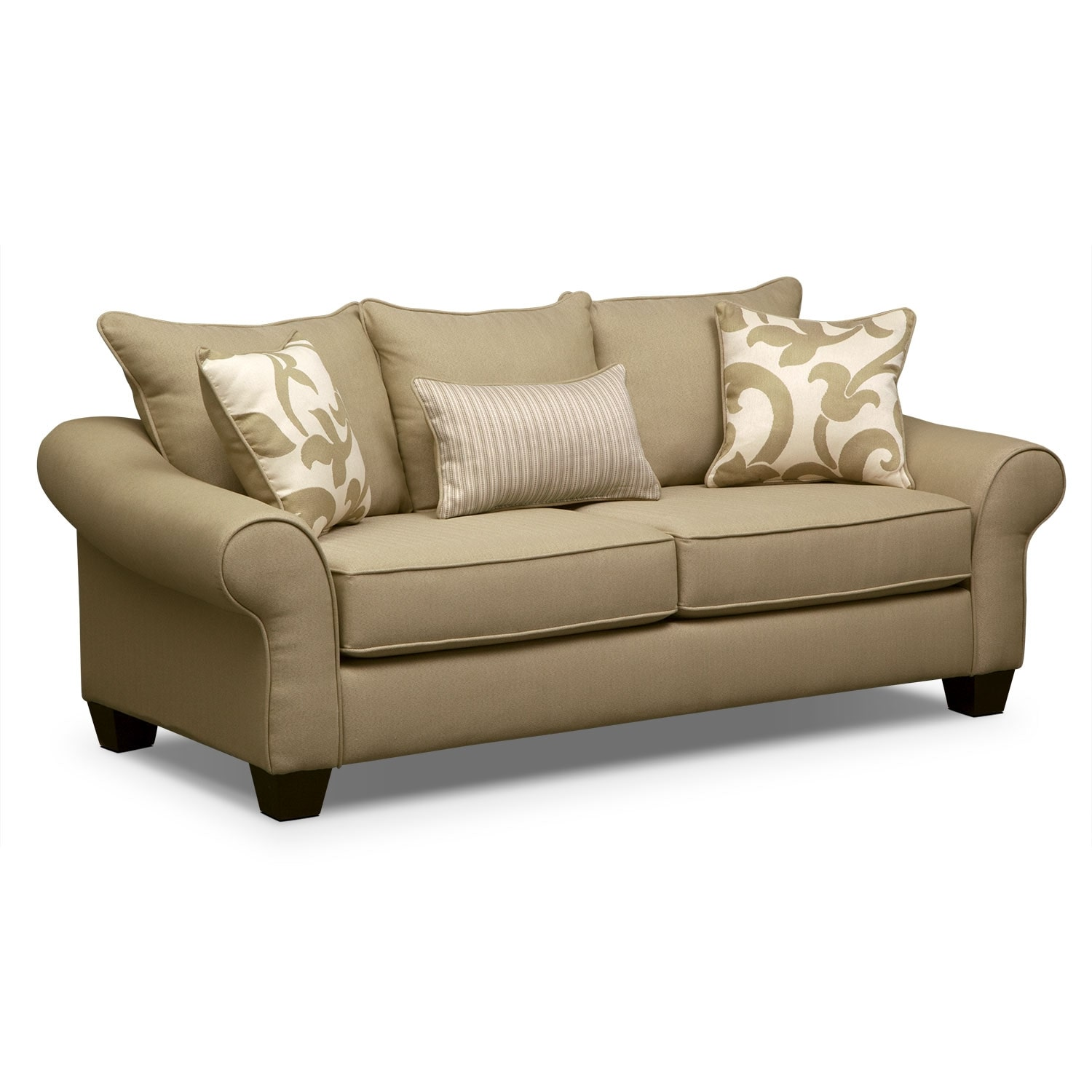 Living Room Furniture - Colette Full Memory Foam Sleeper Sofa - Khaki