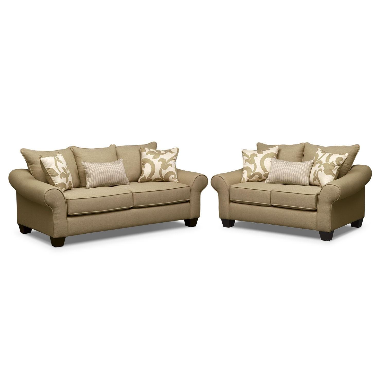 Colette Full Memory Foam Sleeper Sofa And Loveseat Set