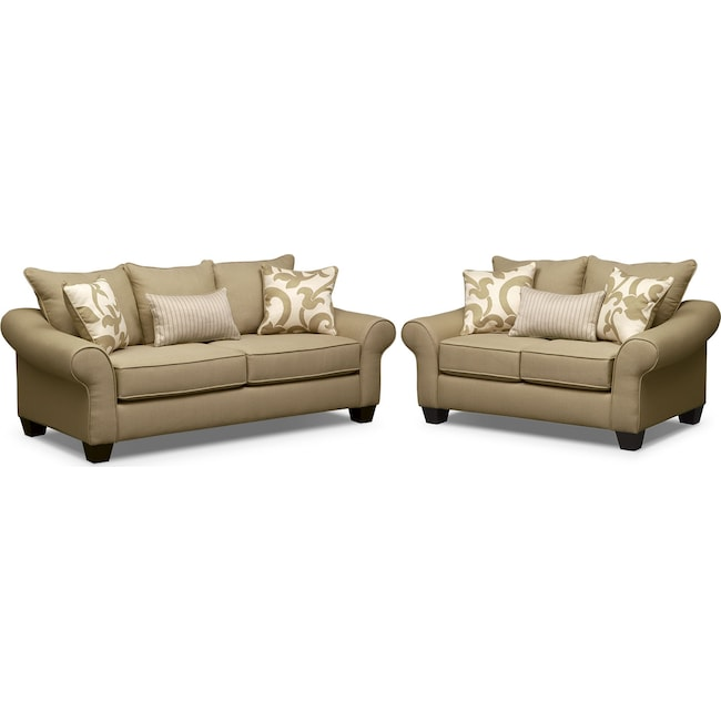 Living Room Furniture - Colette Full Memory Foam Sleeper Sofa and Loveseat Set - Khaki