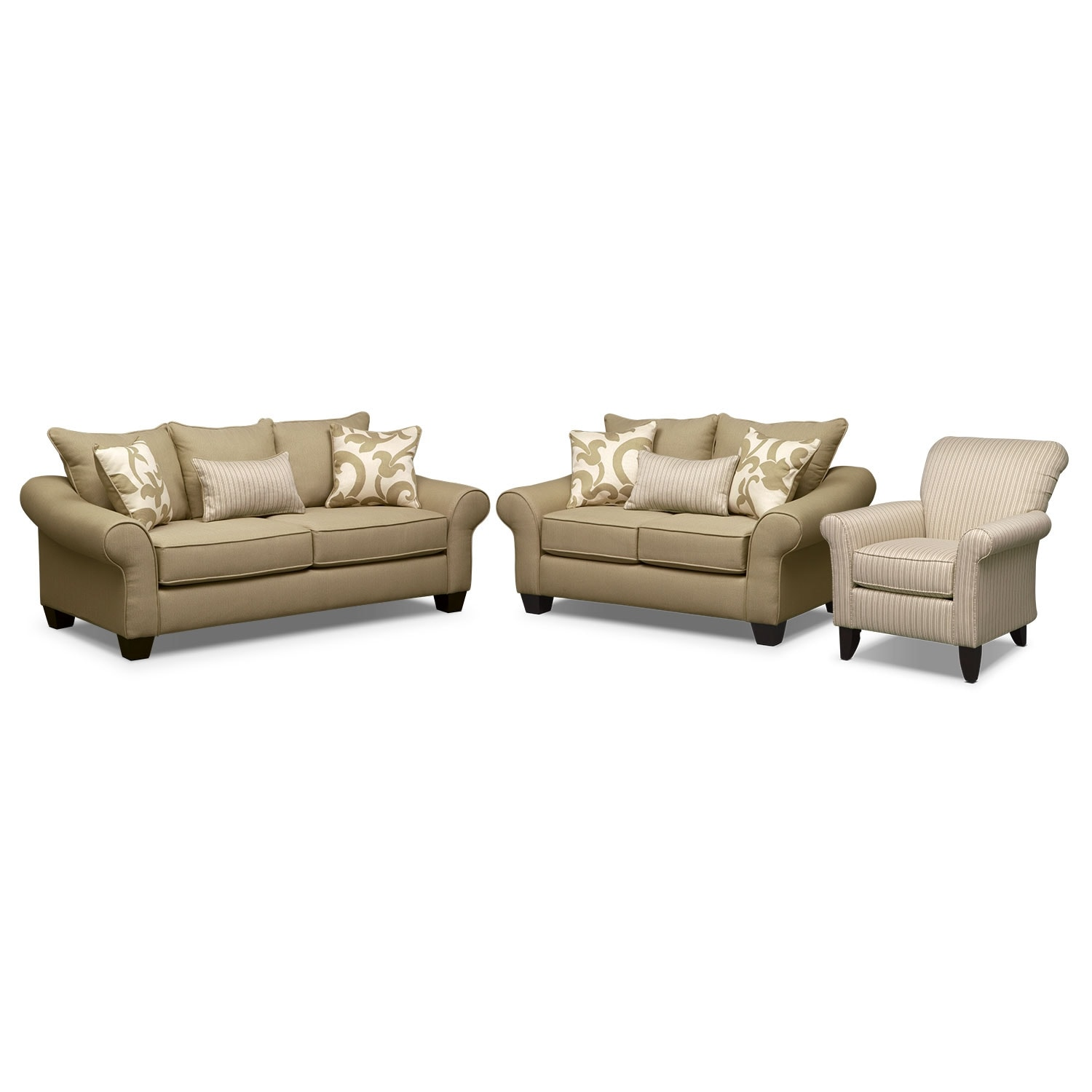 Colette Full Innerspring Sleeper Sofa, Loveseat and Accent Chair Set - Khaki
