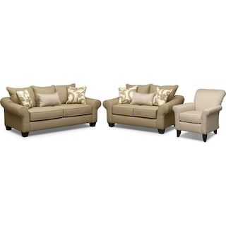 Colette Sofa, Loveseat and Accent Chair Set - Khaki
